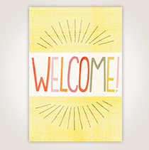 This friendly card, proclaiming Welcome on the cover, would make the perfect follow up with a new client.