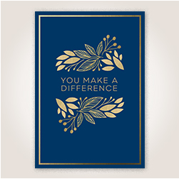 Flat gold foil adds shimmer to the cover lettering and botanical design against a navy background on this appreciation card.