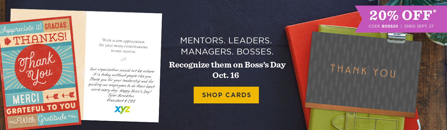 Save 20% with code BOSS20 through Sept. 27