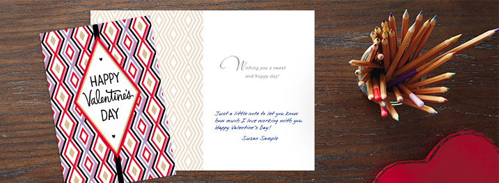 Nothing but diamonds and appreciation for your employees in this company Valentine's Day card that you can personalize.