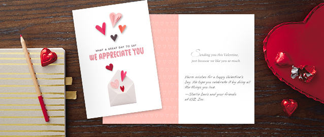 Personalize a Hallmark Valentine's Day card for your customers with your own message and your company logo.