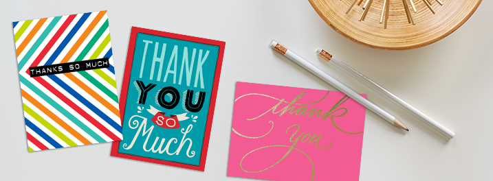 With colorful stripes or expressive script, Hallmark thank you note cards make employee recognition easy and memorable.