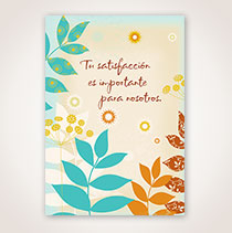 Spanish Apology Card - Hojas Azul y Cafe