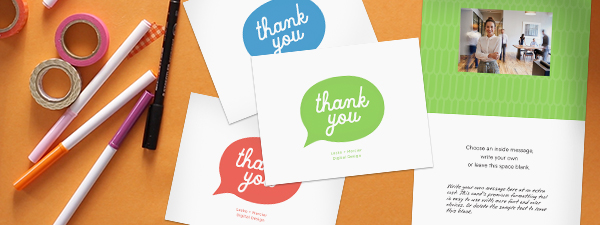 Order personalized thank you cards that have color choices as well as optional photo and handwriting font note.