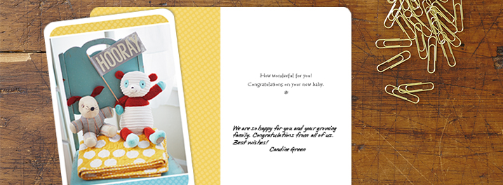 Colorful photography on this new baby card for business sets a fun tone for welcoming little ones to your customers' lives.