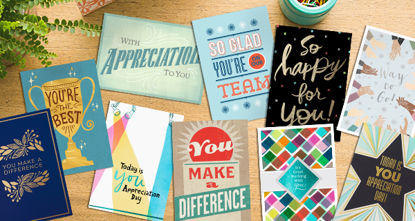 Hallmark employee recognition cards featuring statements such as You're the Best are 20% off with code EMPLOYEE2020.