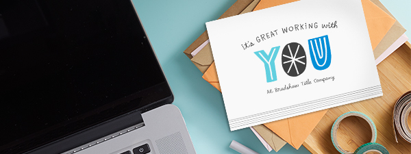 """Tell your employees that """"It's Great Working with You"""" as this card's cover does and then add your company name."""