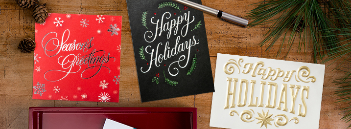 Silver foil on red, gold foil on white and seasonal icons can all be found on our newest corporate holiday cards.