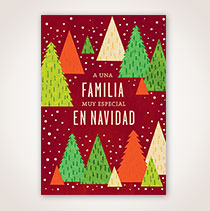 Spanish Christmas Card - Arbolitos en Tricolor
