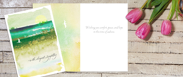 A peaceful watercolor design on the cover along with a caring message already included will help express your sympathy.