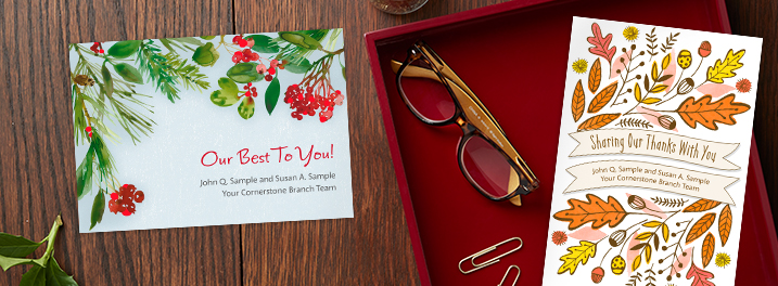 Hallmark Business Connections offers customized covers of a designed Hallmark greeting card--simply add your business name.