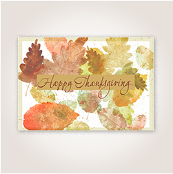 Watercolor leaves Thanksgiving card for customers.