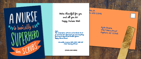 Hallmark offers Nurses Week cards that allows you to pick a sentiment, add a personal note and even mail to their home.