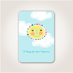Inspired by embroidered plush, a smiling sun sits in front of puffy clouds and a bright blue sky in this baby card design.