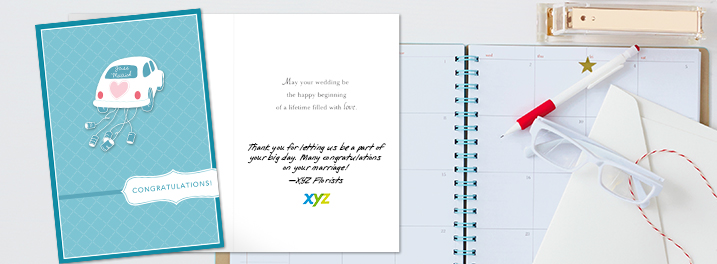 Thank clients and wish them well with wedding greeting cards for business that you can personalize with your company logo.