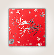 Hallmark holiday cards for business with snowflakes on a red background.