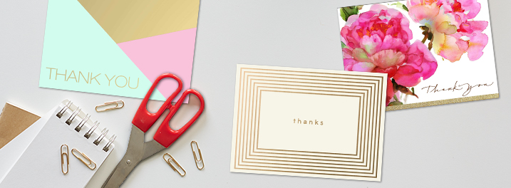 Thank customers with blank Hallmark note cards designed with gold foil, modern lines or expressive watercolor.