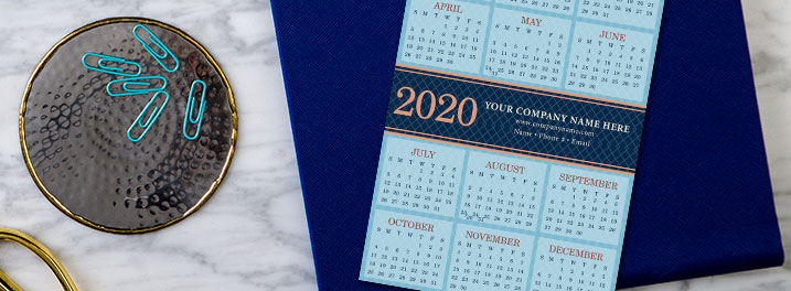 Friendly blues offset by a subtle diamond pattern make this 2020 calendar card versatile for any brand and decor.