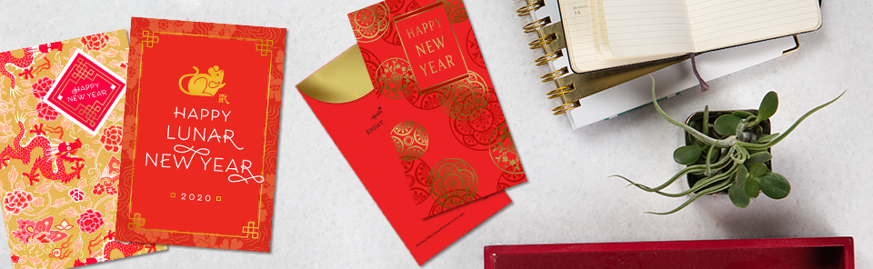 Celebrate the year of the Rat with lucky red envelopes and Chinese New Year cards for customers and employees.