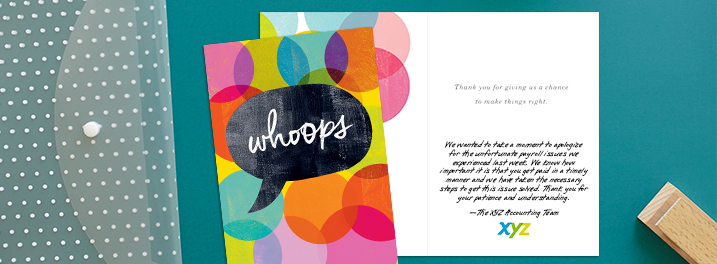 "A ""whoops"" on the cover of this Hallmark card helps keep your apology to employees authentic and lighthearted."