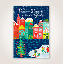 Winter Town Holiday Business Hallmark Card for Millennial Customers and Employees