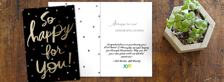 Confetti and foil accent this Hallmark card designed to say congrats for a new home, with room for your message and logo.