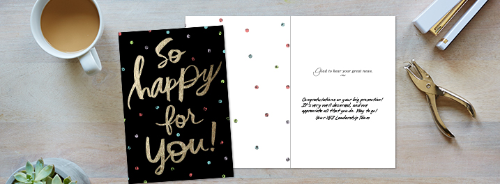 Shining foil, expressive lettering and colorful confetti complete this personalized Hallmark congrats card for businesses.