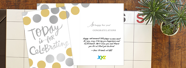 Silver and gold oversized dots framing expressive lettering on this Hallmark card can be used for retirement wishes and more.
