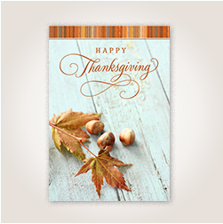 Leaves and Acorns Thanksgiving card for customers.