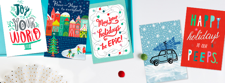 Send a bit of whimsical flair this holiday with our modern illustrated boxed holiday cards.