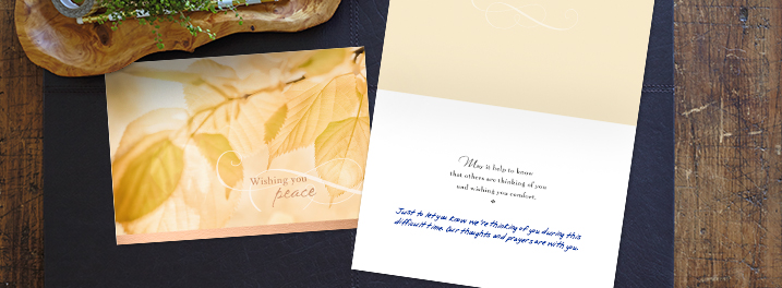 Sympathy cards from Hallmark Business Connections can be personalized with your choice of inside sentiment, handwritten personal message and company logo.