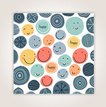 The colorful dots and happy faces get this card off to a fun start with a birthday wish inside—perfect for young clients.