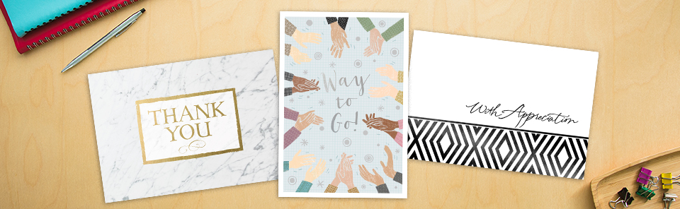 Say thanks your way on Boss's Day: gold thanks on marble, round of applause illustration, or shimmery black foil on white.