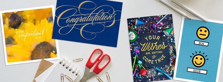 From the watercolor care and concern card to the funny emoji card, our new cards in the all occasions category has you covered.