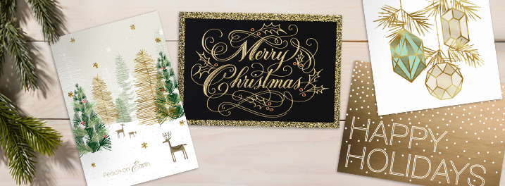 Shiny silver and gold designs are the hallmark of many of our best holiday cards for business.