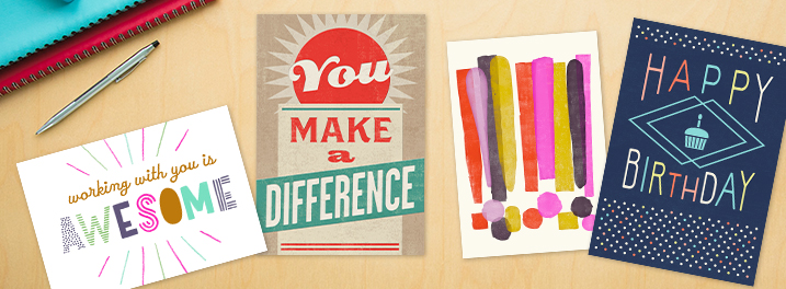 Bright colors and mixed illustrated textures are a few styles featured in our staff favorite Hallmark cards for businesses.