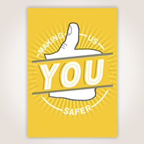 "An illustrated thumbs up with the words, ""Making Us Safer,"" over it sets the stage to thank your safety staff. SHOP NOW"