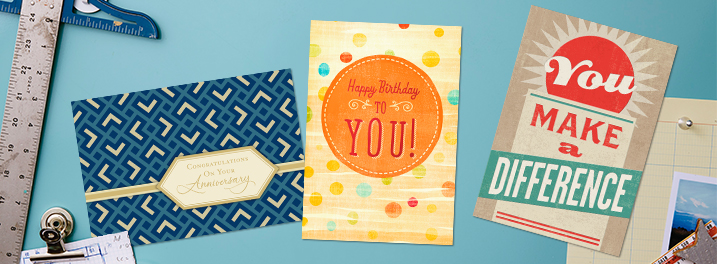 From work anniversaries to birthdays, use our top-selling Hallmark business cards to connect with employees and clients.