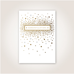 A sprinkling of gold dolts and silver stars evoke celebratory confetti surrounding a gold foil Congratulations.