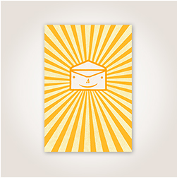 A friendly illustrated envelope radiating yellow and orange sunshine is ideal for celebrating every bit of good news.