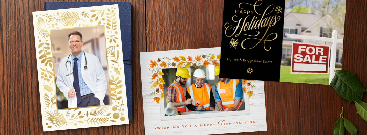 Up the personalization even more on your company holiday card with a photo.