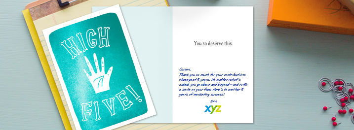 "A ""High Five!"" employee recognition card is personalized with an encouraging 5-year work anniversary message."