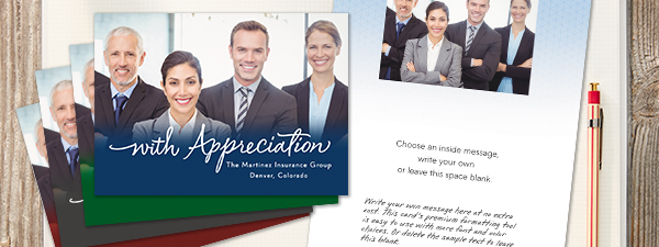 Express your appreciation for customers with this card that allows you to add the company name, photos and sentiments.
