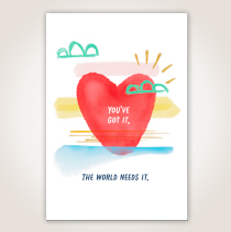 "This nurses appreciation card features a red heart on a sky backdrop that says, ""You've Got It. The World Needs It."" SHOP NOW"