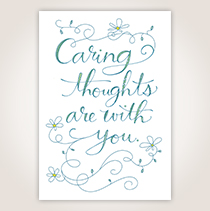 """This Hallmark sympathy card says, """"Caring thoughts are with you,"""" in illustrative, blue and green lettering."""