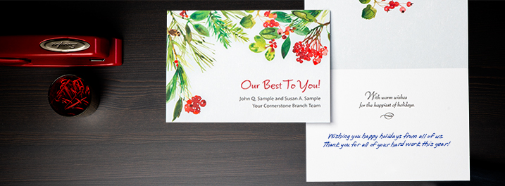 Watercolor greenery frames a brief holiday message and your company name on this Hallmark custom cover holiday card design.