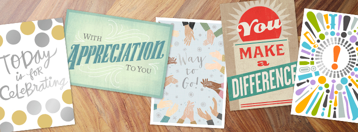 "A variety of employee recognition greeting cards from Hallmark Business Connections including ""Today is for Celebrating,"" ""With Appreciation to You,"" ""Way to Go,"" ""You Make a Difference"" and exclamation point designs."