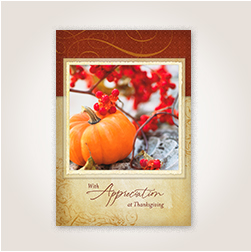 What to write in a thanksgiving card to customers pumpkin and berries photo thanksgiving card for customers m4hsunfo